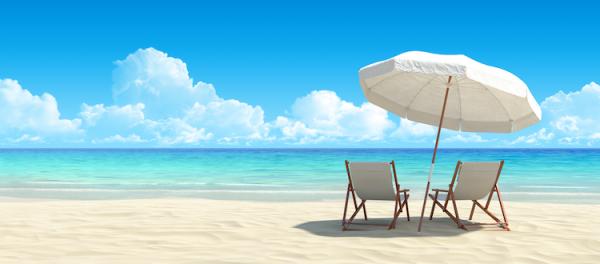 beach chairs and umbrella on the beach